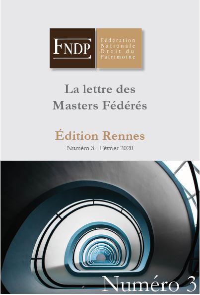 La lettre des masters fédérés n°3 - Edition Rennes